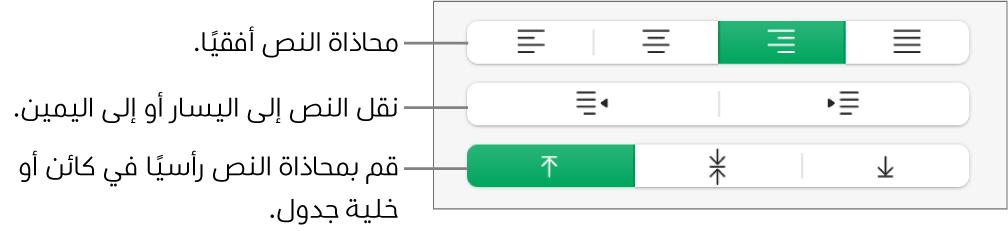 قسم المحاذاة وتظهر به أزرار لمحاذاة النص أفقيًا، نقل النص إلى اليمين أو اليسار، ومحاذة النص رأسيًا.