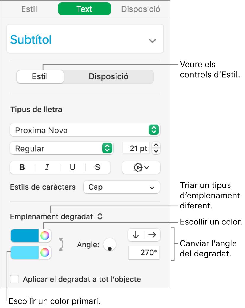 La barra lateral Text, que indica com canviar el color del text.