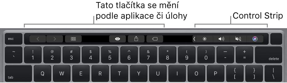 Klávesnice sTouchBarem nad numerickými klávesami. Nalevo auprostřed se nacházejí tlačítka pro úpravu textu. Napravo vidíte Control Strip se systémovými ovládacími prvky pro úpravu jasu ahlasitosti apro komunikaci se Siri.