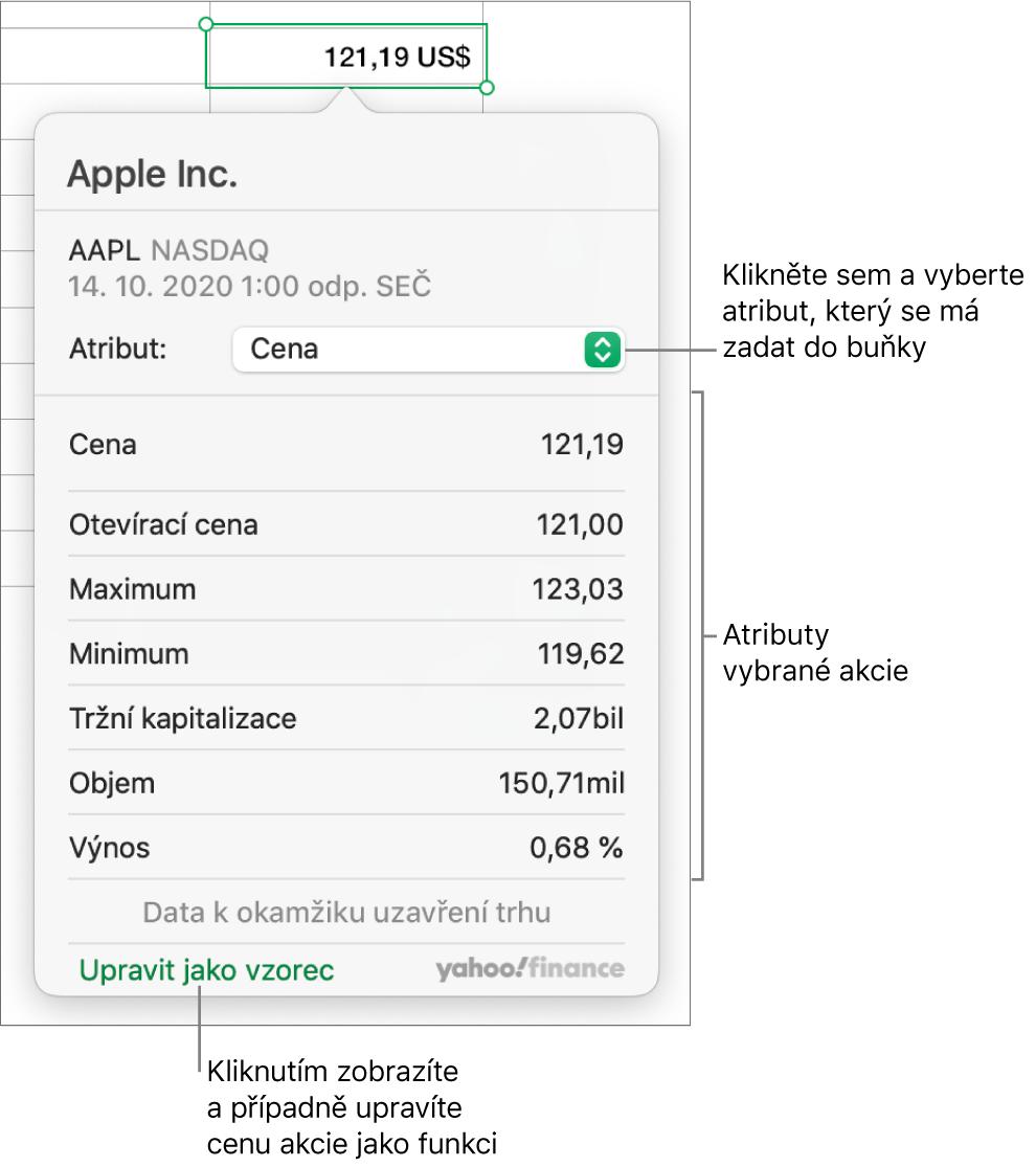 Dialogové okno pro zadávání informací oatributech akcií svybranými akciemi Applu