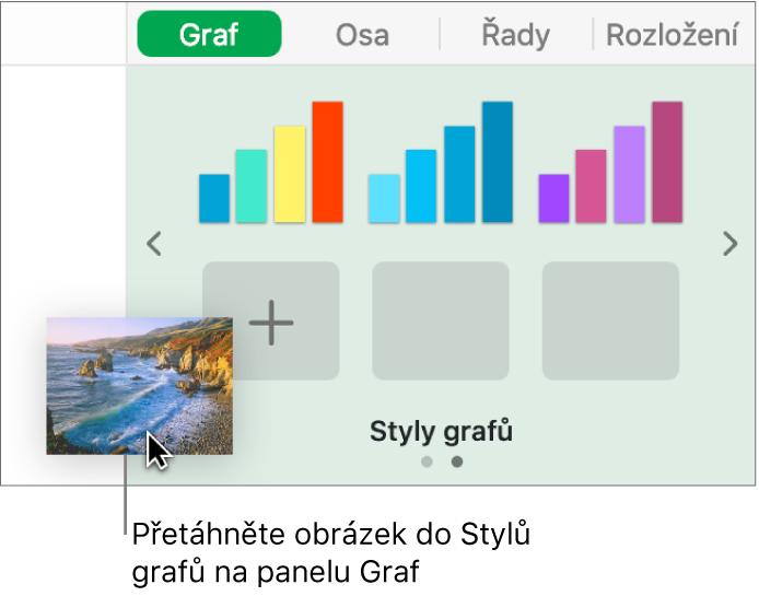Vytvoření nového stylu přetažením obrázku do sekce se styly grafů na bočním panelu