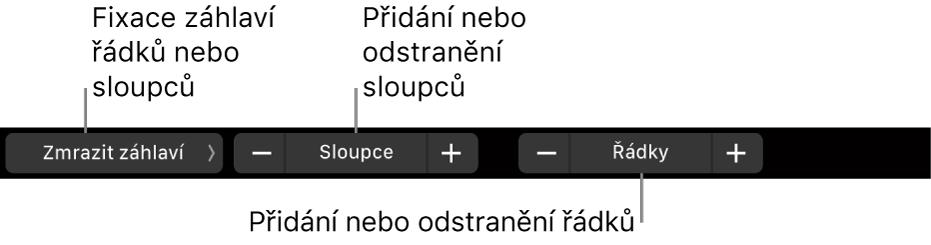 TouchBar MacBookuPro sovládacími prvky pro zmrazení řádků či sloupců záhlaví, přidání nebo odstranění sloupců apřidání nebo odstranění řádků