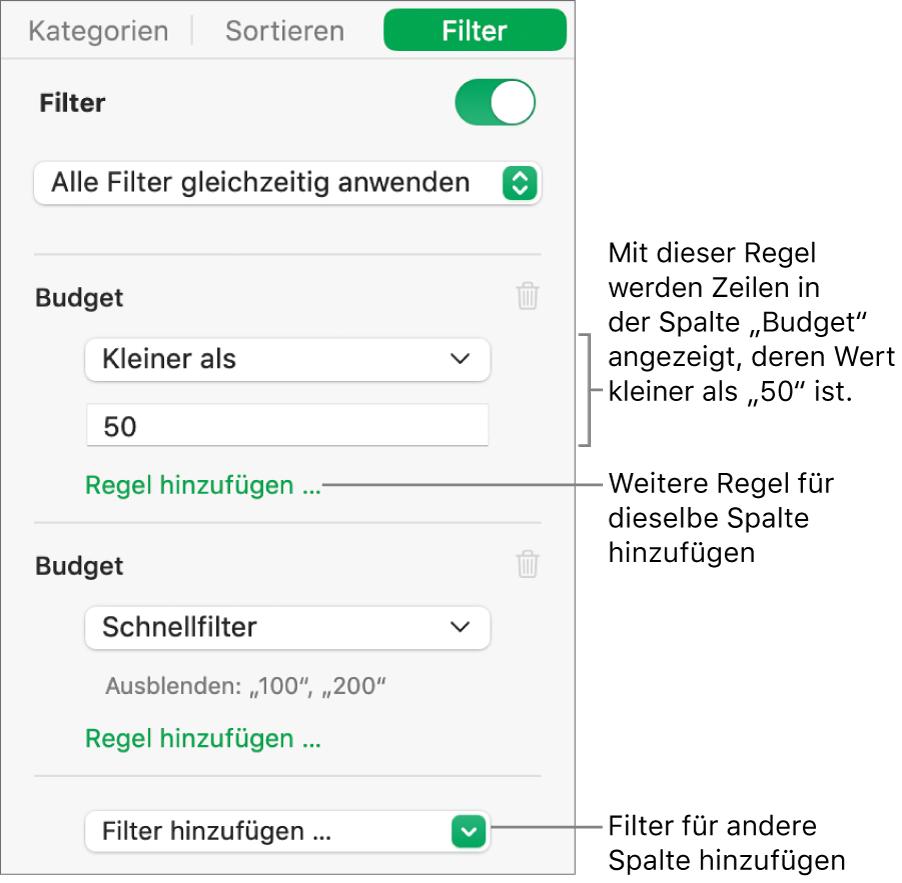 Steuerelemente zum Erstellen von Filterregeln.