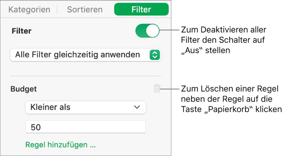 Steuerelemente zum Löschen eines Filters oder zum Deaktivieren aller Filter