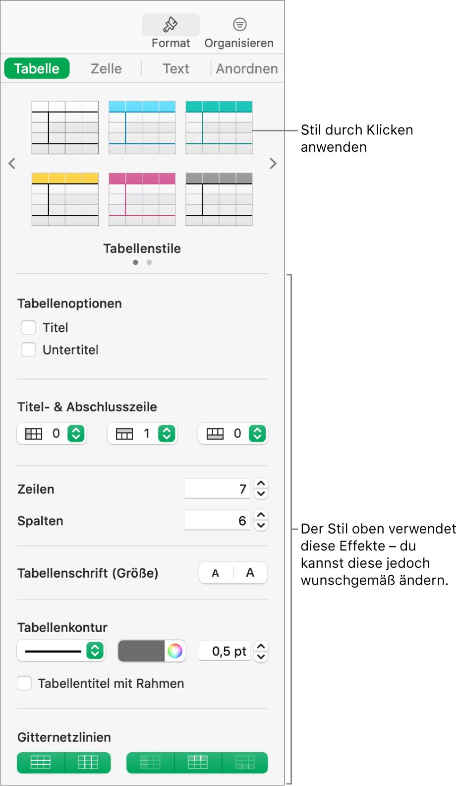 """Die Seitenleiste """"Format"""" zeigt Tabellenstile und Formatierungsoptionen."""