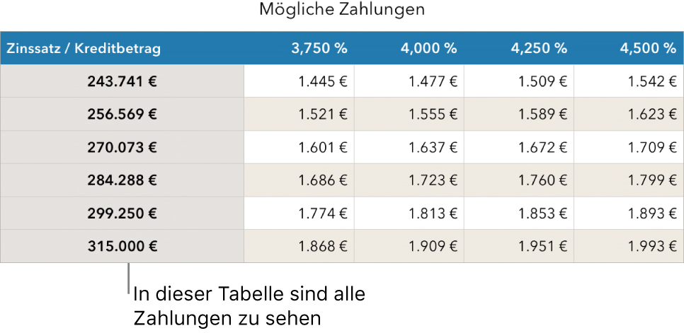 Eine Tabelle mit Ratenzahlungen vor dem Filtern für finanzierbare Tilgungsraten.