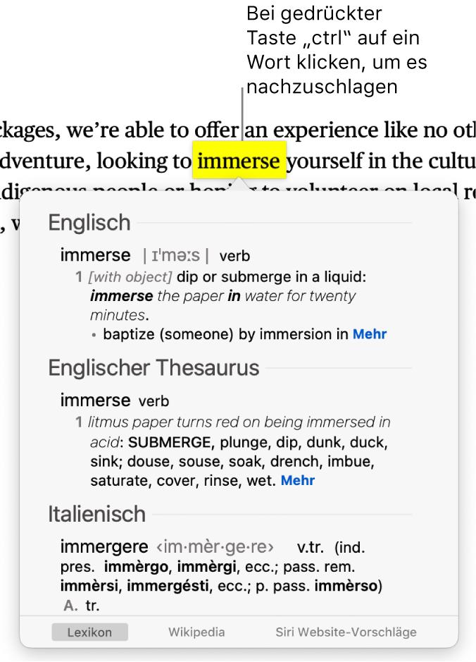 Text, in dem ein Wort hervorgehoben ist. Ein Fenster zeigt die Definition des Wortes und einen Thesaurus-Eintrag. Drei Tasten unten im Fenster stellen Links zum Lexikon, zu Wikipedia und von Siri vorgeschlagenen Websites bereit.