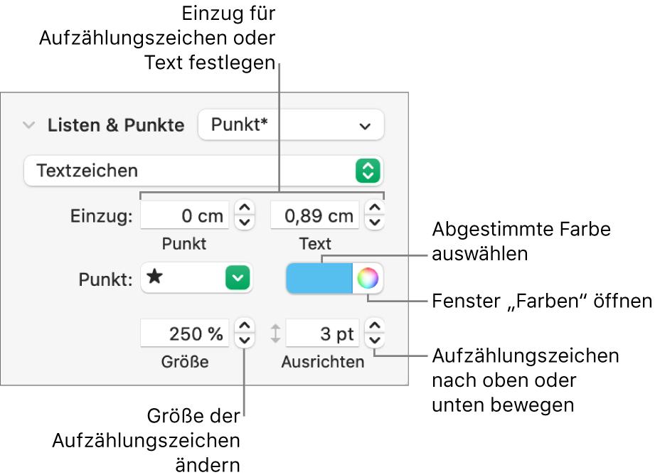 """Der Abschnitt """"Listen& Punkte"""" mit Beschreibung der Steuerelemente für den Einzug von Aufzählungspunkten und Text sowie für Farbe, Größe und Ausrichtung des Aufzählungspunkts"""