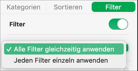 Das Einblendmenü, in dem zwischen dem Anzeigen von Zeilen, die allen oder beliebigen Filtern entsprechen, gewählt werden kann.