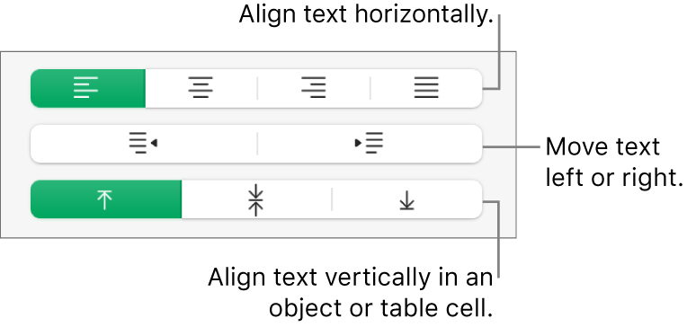 The Alignment section showing buttons for aligning text horizontally, moving text left or right and aligning text vertically.