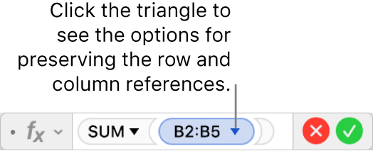 The Formula Editor showing how to preserve the row and column of a range reference.