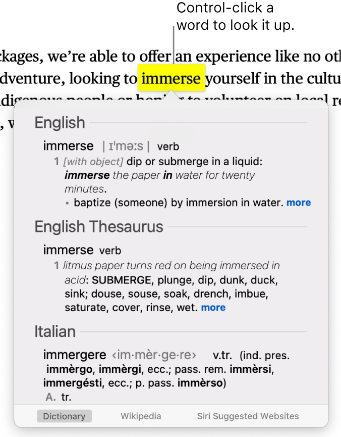 Text with a highlighted word and a window showing its definition as well as a thesaurus entry. Three buttons at the bottom of the window provide links to the dictionary, Wikipedia and Siri suggested websites.