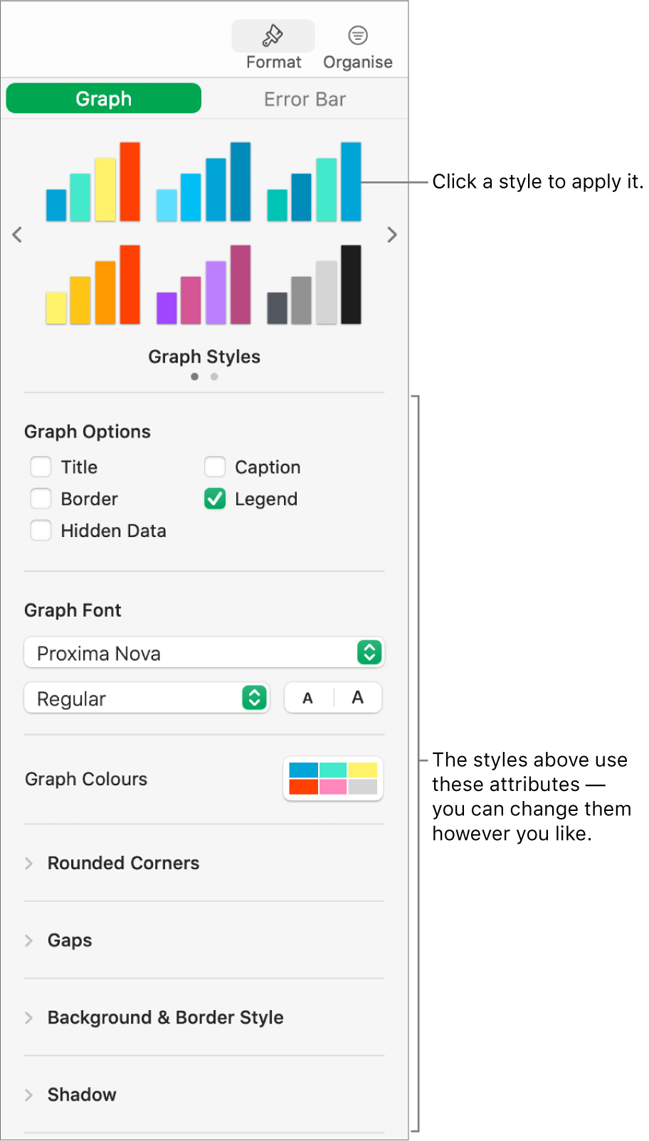 The Formatting sidebar showing the controls for formatting graphs.