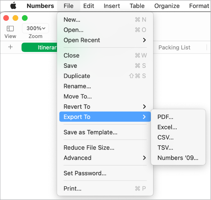The File menu open with Export To selected, with its submenu showing export options for PDF, Excel, CSV and Numbers '09.