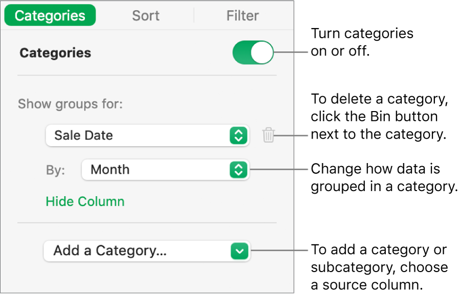 The categories sidebar with options for turning categories off, deleting categories, regrouping data, hiding a source column and adding categories.