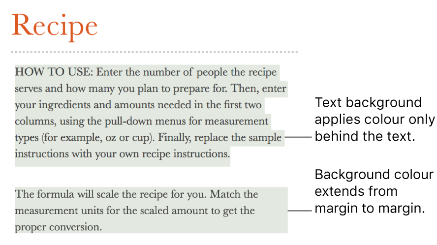 One paragraph with colour behind only the text and a second paragraph with colour behind it that extends from margin to margin in a block.