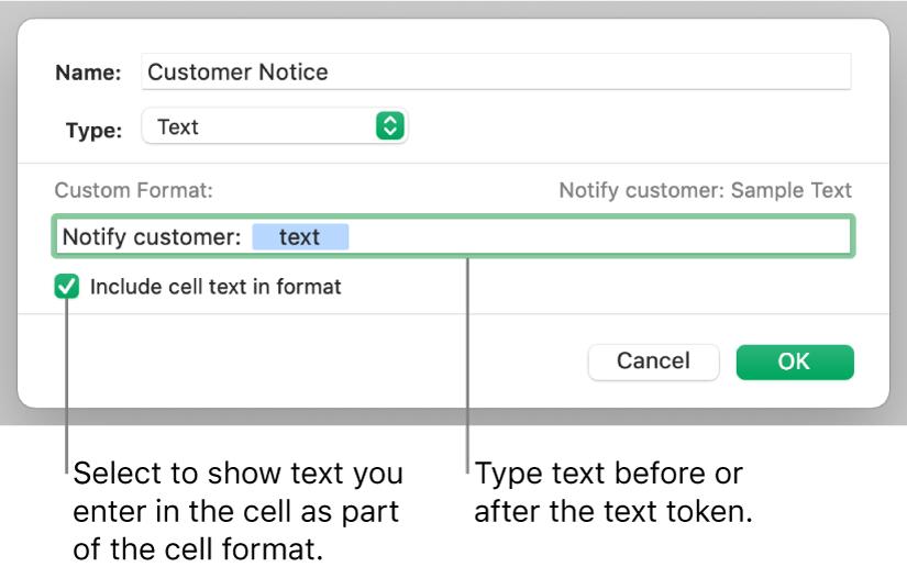 Custom text cell format.
