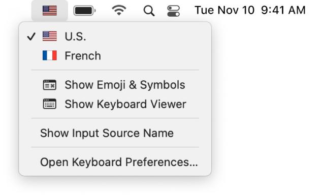 The Input menu in the upper-right corner of the menu bar.