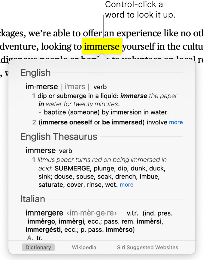 Text with a word highlighted and a window showing its definition and a thesaurus entry. Three buttons at the bottom of the window provide links to the dictionary, Wikipedia, and Siri suggested websites.