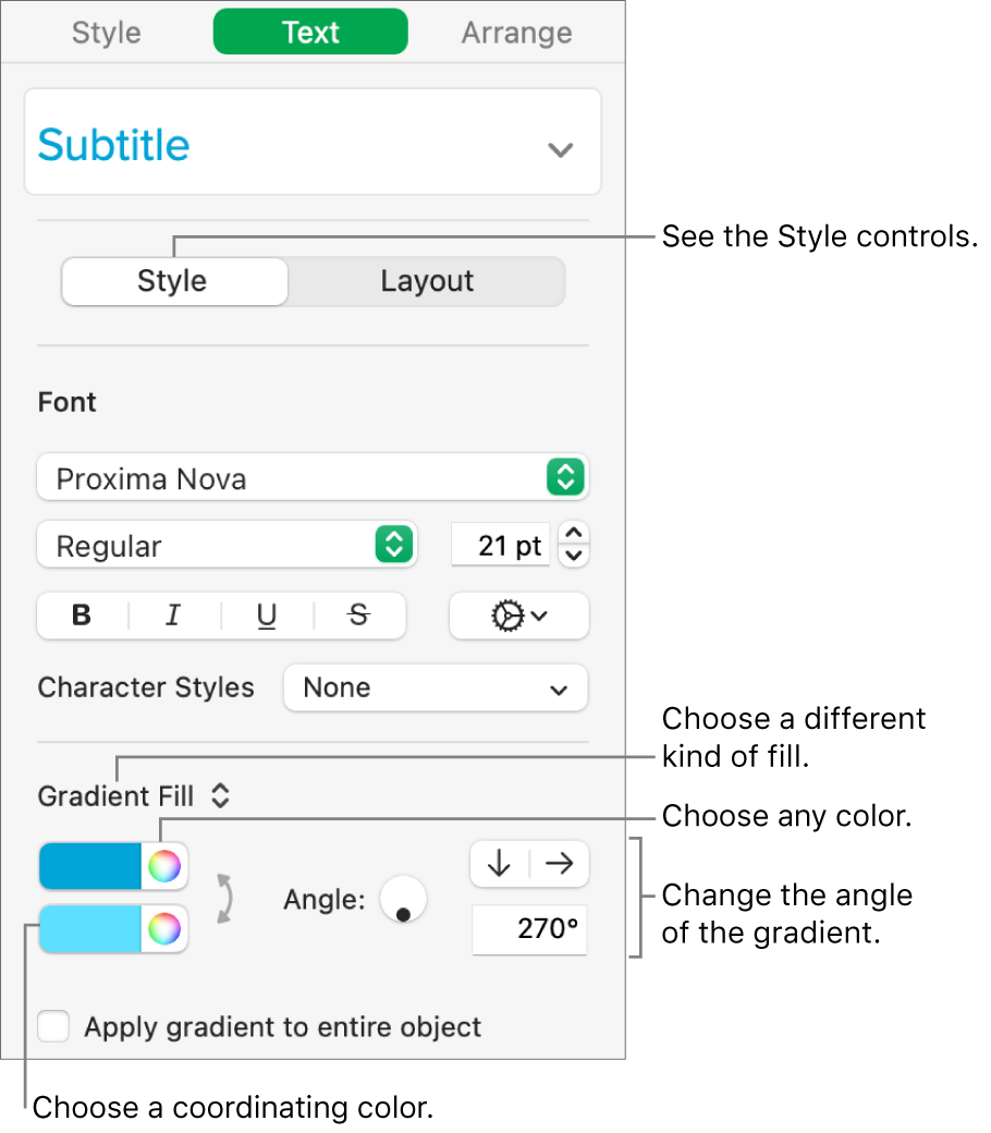 Text sidebar, showing how to change the color of text.