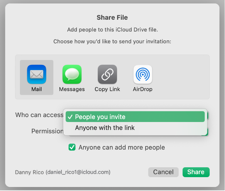 """The collaboration dialog with the """"Who can access"""" pop-up menu open and """"People you invite"""" selected."""