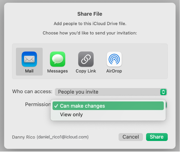 """The collaboration dialog with the Permission pop-up menu open and """"Can make changes"""" selected."""