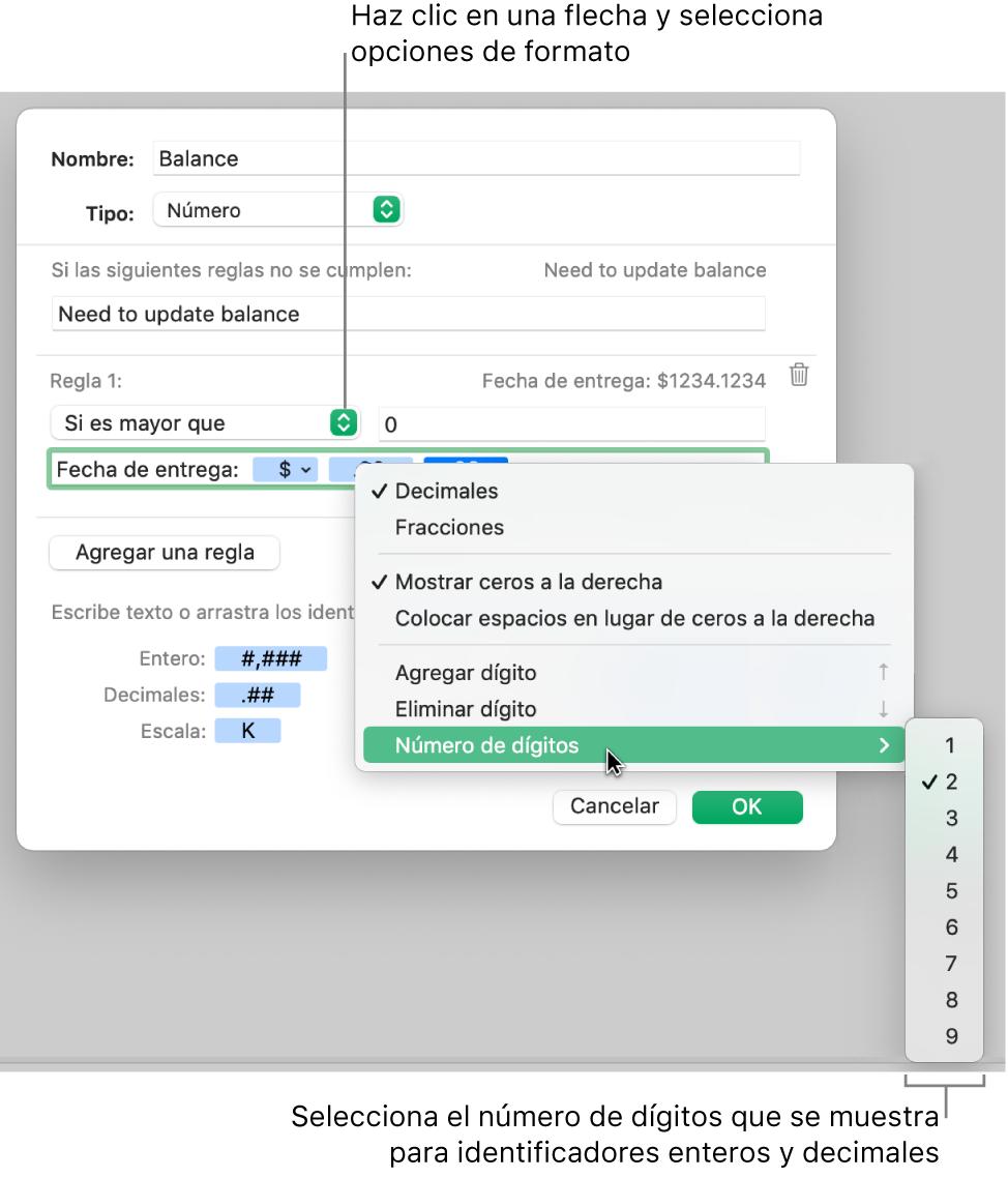 La ventana de formato de celda personalizado con controles para seleccionar opciones de formato personalizadas.
