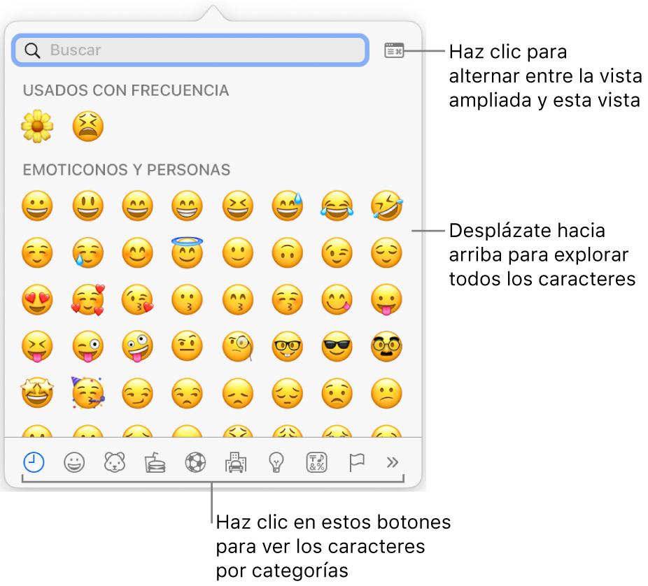 """La ventana desplegable """"Caracteres especiales"""" con emoticonos, botones para diferentes tipos de símbolos en la parte inferior y una llamada a un botón para mostrar la ventana Caracteres completa."""