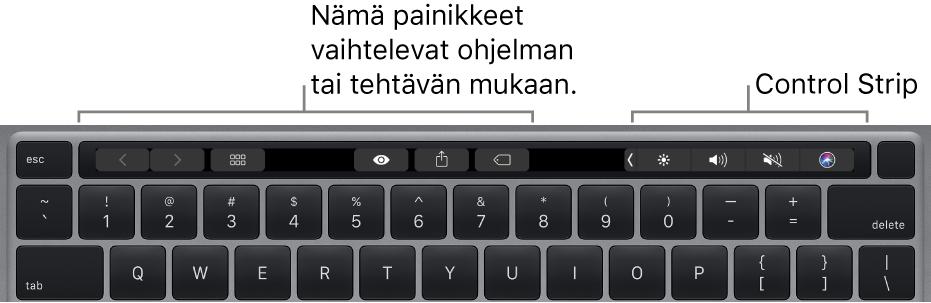 Näppäimistö, jonka numeronäppäinten yläpuolella on TouchBar. Painikkeet tekstin muotoilemista varten ovat vasemmalla ja keskellä. Oikealla olevassa ControlStripissä on järjestelmän säätimet kirkkaudelle, äänenvoimakkuudelle ja Sirille.