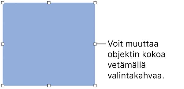 Objekti, jonka reunassa on valkoisia neliöitä sen koon muuttamista varten.