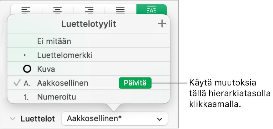 Luettelotyylit-ponnahdusvalikko, jossa uuden tyylin nimen vieressä on Päivitä-painike.