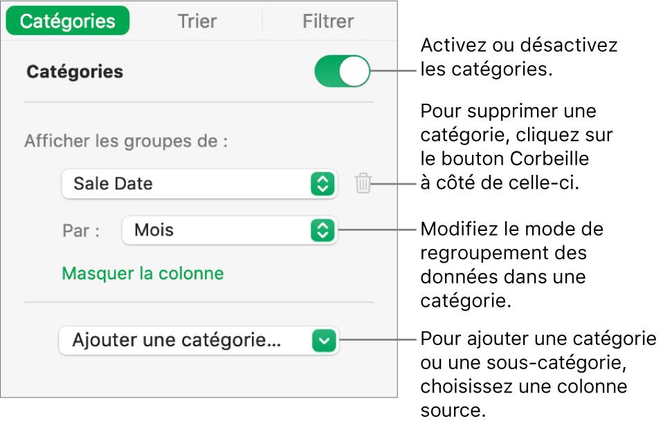 La barre latérale des catégories avec des options pour désactiver des catégories, supprimer des catégories, regrouper des données, masquer une colonne source et ajouter des catégories.