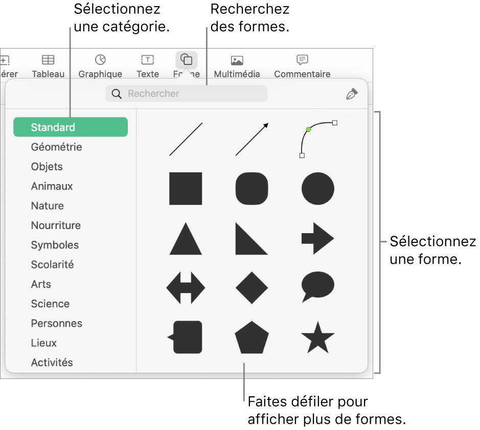 La bibliothèque de formes, avec les catégories répertoriées sur le côté gauche et les formes affichées sur le côté droit. Vous pouvez utiliser le champ de recherche situé en haut pour rechercher des formes. Vous pouvez également parcourir l'écran pour en trouver d'autres.