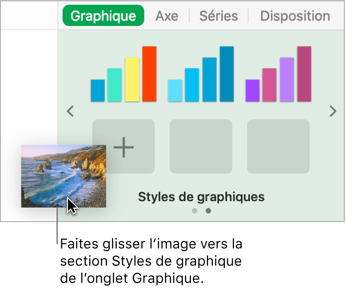 Opération consistant à faire glisser une image vers la section Styles de graphiques de la barre latérale en vue de créer un nouveau style.