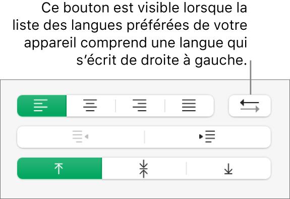 Le bouton Direction du paragraphe dans la section Alignement de la barre latérale Format.