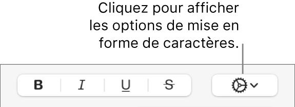 Bouton Options avancées situé à côté des boutons Gras, Italique, Souligné et Barré.