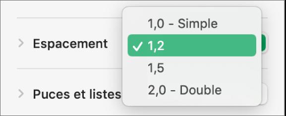 Le menu contextuel Espacement, avec les options Simple, Double et d'autres.