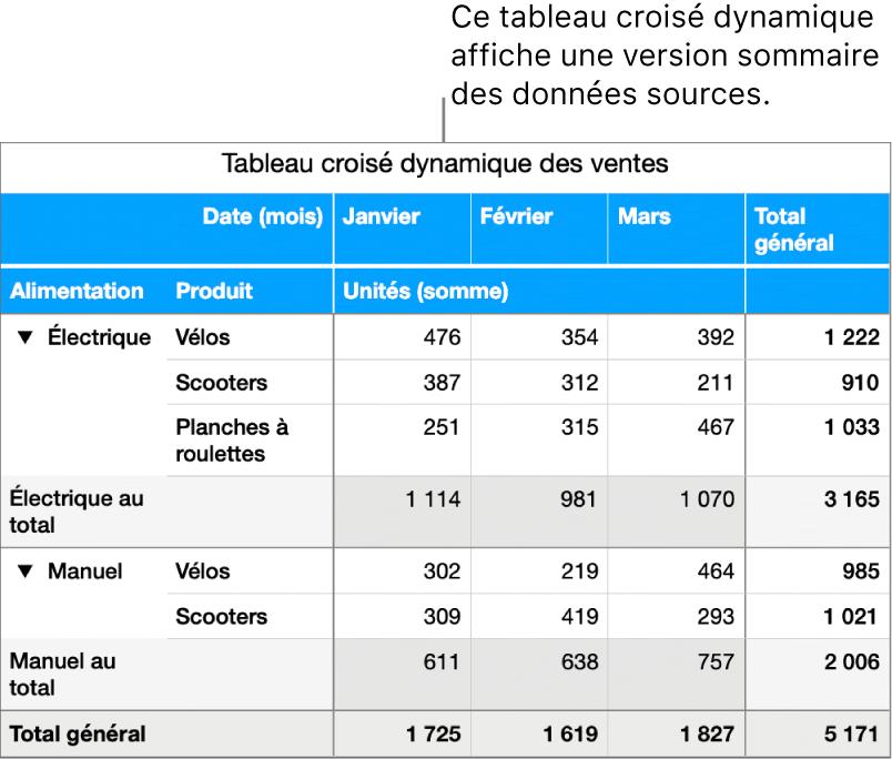 Tableau croisé dynamique affichant des données résumées et des commandes permettant de révéler certaines données.