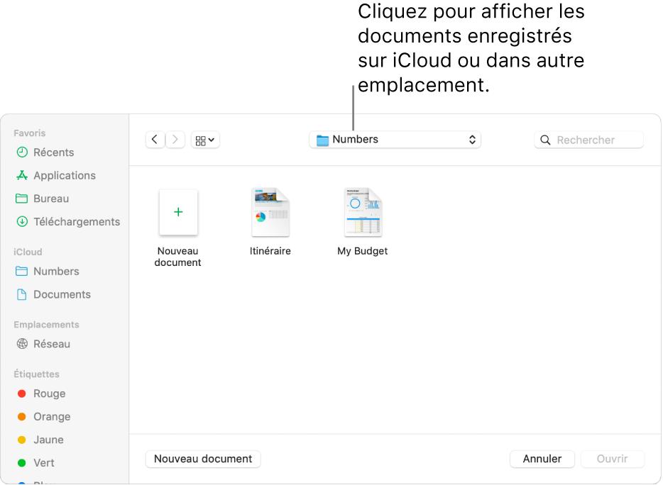 La boîte de dialogue Ouvrir avec la barre latérale s'ouvre à gauche et le lecteur iCloudDrive sélectionné apparaît dans le menu contextuel en haut de l'écran. Les dossiers de Keynote, Numbers et Pages apparaissent dans la boîte de dialogue ainsi qu'un bouton Nouveau document.