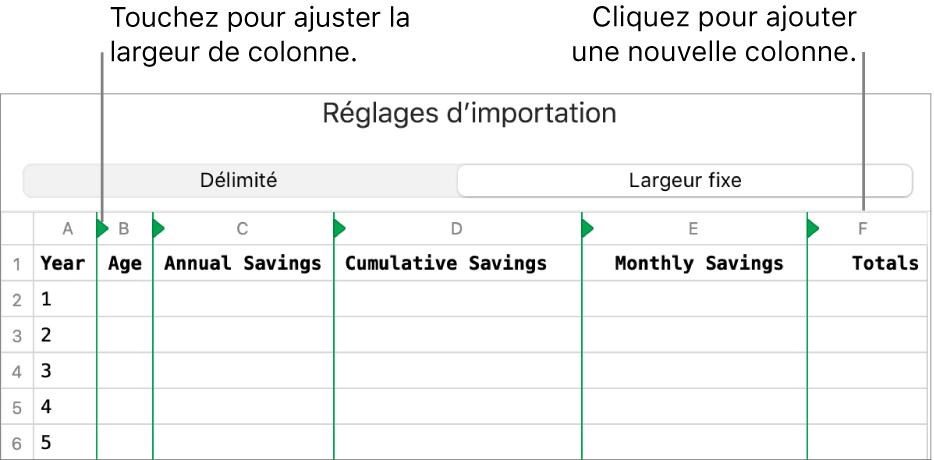 Réglages d'importation d'un fichier texte à largeur fixe.
