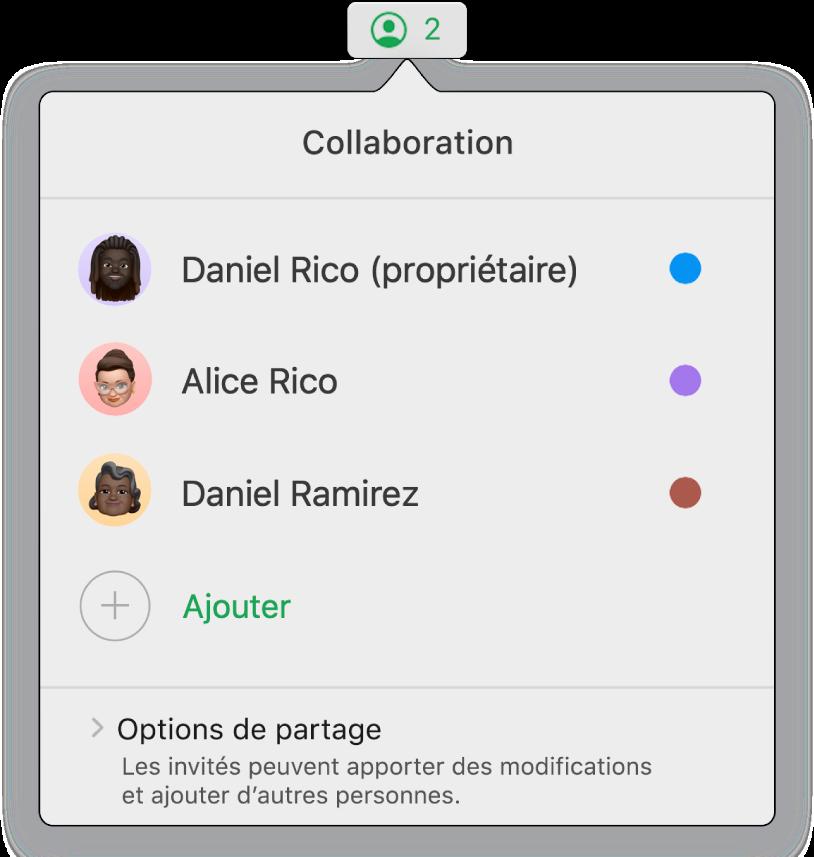 Le menu Collaboration affiche les noms des personnes qui collaborent dans la feuille de calcul. Les options de partage sont en dessous des noms.