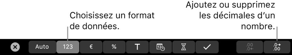 La TouchBar d'un MacBookPro avec les commandes pour choisir un format de données et ajouter ou supprimer des décimales pour un nombre.