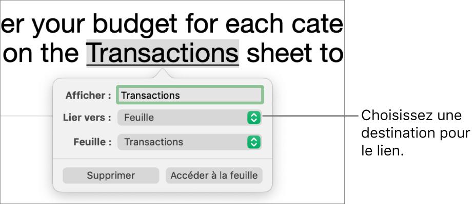 Les commandes de l'éditeur de liens avec un champ Afficher, un menu local «Lier vers» (défini sur Feuille) et un menu local Feuille (une feuille intitulée Passif est sélectionnée). Les boutons Supprimer et «Accéder à la feuille» sont situés en bas de la fenêtre contextuelle.