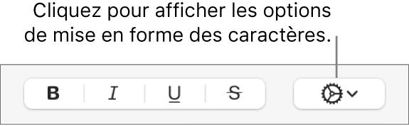 Le bouton «Options avancées» en regard des boutons Gras, Italique, Souligné et Barré.