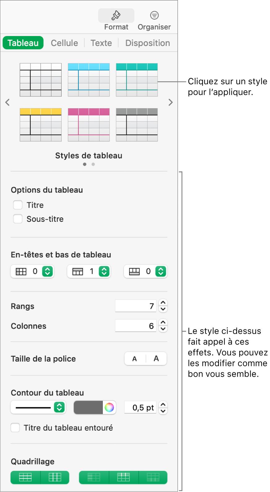 Barre latérale Format présentant des styles de tableau et des options de mise en forme.