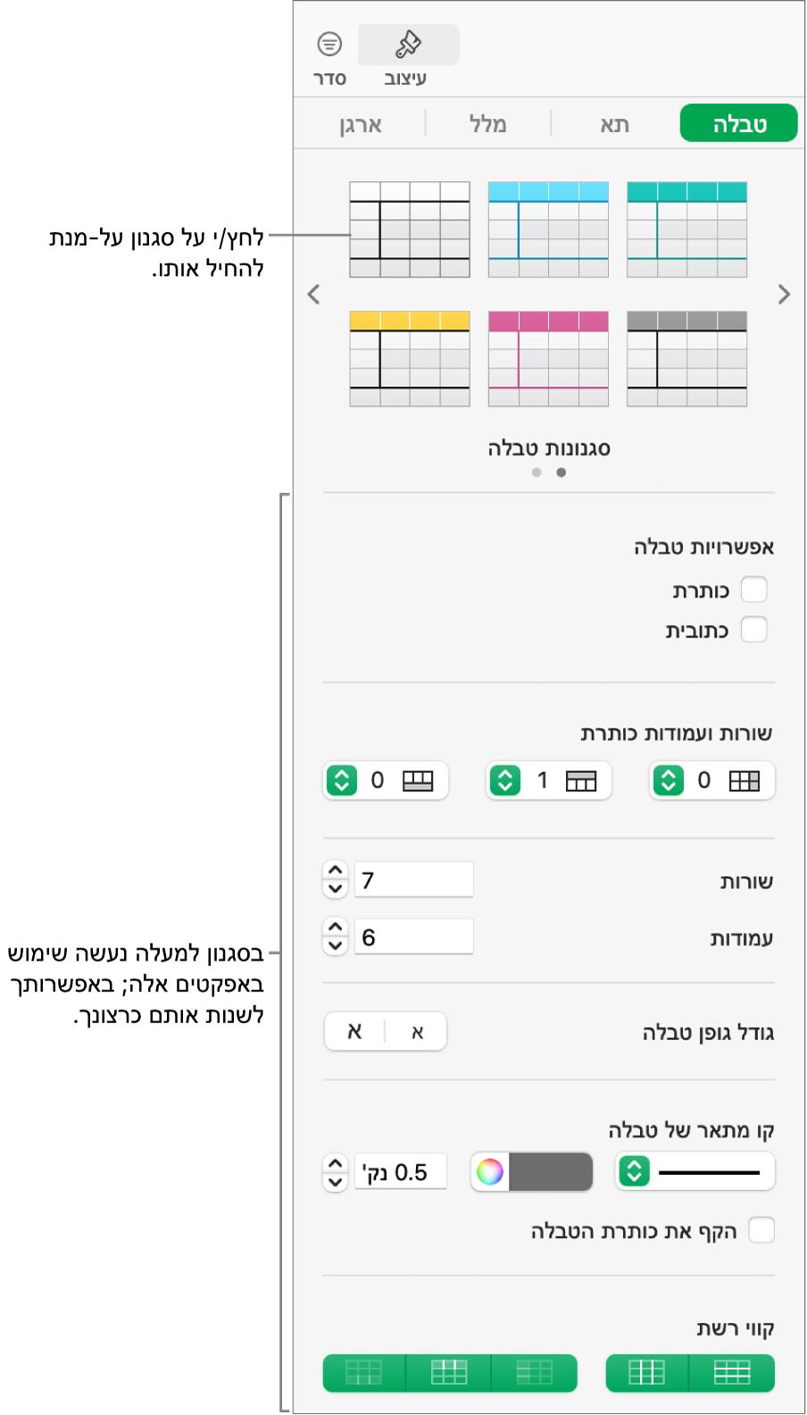סרגל הצד מציג סגנונות טבלה ואפשרויות עיצוב.