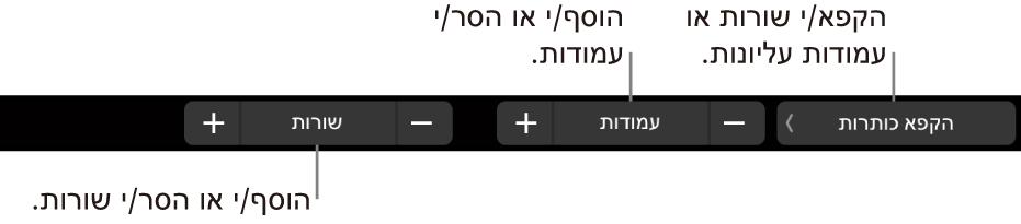 ב-MacBookPro, ה-TouchBar מציג כלי בקרה להקפאת שורות כותרת עליונה או עמודות כותרת עליונה, להוספה או הסרה של עמודות ולהוספה או הסרה של שורות.
