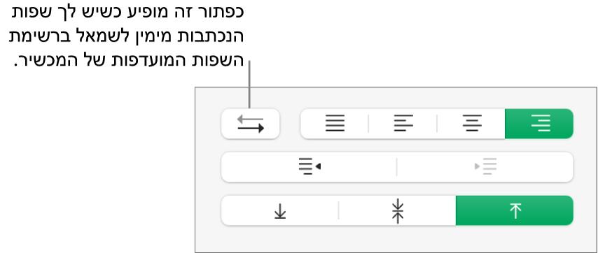 הכפתור ״כיוון פיסקה״ במקטע ״יישור״ של סרגל הצד ״עיצוב״.