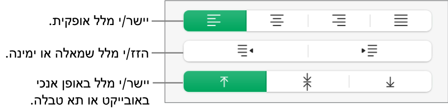 המקטע ״יישור״ מציג כפתורים ליישור מלל אופקית, להזזת מלל שמאלה או ימינה וליישור מלל אנכית.