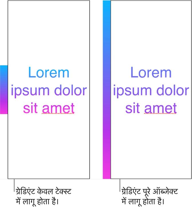 साथ-साथ दिए गए उदाहरण। सबसे पहला उदाहरण वह टेक्स्ट दिखाता है जिसमें केवल टेक्स्ट को ग्रेडिएंट लागू किया गया है ताकि पूरा रंग स्पेक्ट्रम टेक्स्ट में दिखाई दे। दूसरा उदाहरण वह टेक्स्ट दिखाता है जिसमें पूरे ऑब्जेक्ट को ग्रेडिएंट लागू किया गया है ताकि रंग स्पेक्ट्रम का वही भाग टेक्स्ट में दिखाई दे।